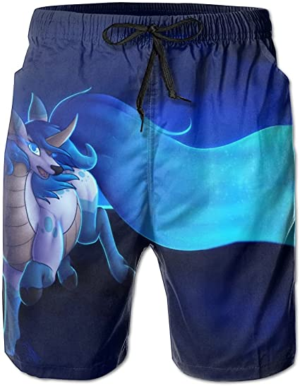 JIW Iaa Cat Riding A Unicorn Mens Popular Summer Beach Pants Breathable Swim Trunks Board Shorts