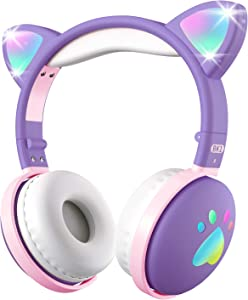 Toddler Headphones with Kawaii Cat Ear, paw LED Light, Aresrora Bluetooth Wireless Headphones with 3.5MM Jack Microphone Bluetooth 5.0 Volume Control for PC/Cell Phones/PC/iPad (Purple&Pink)