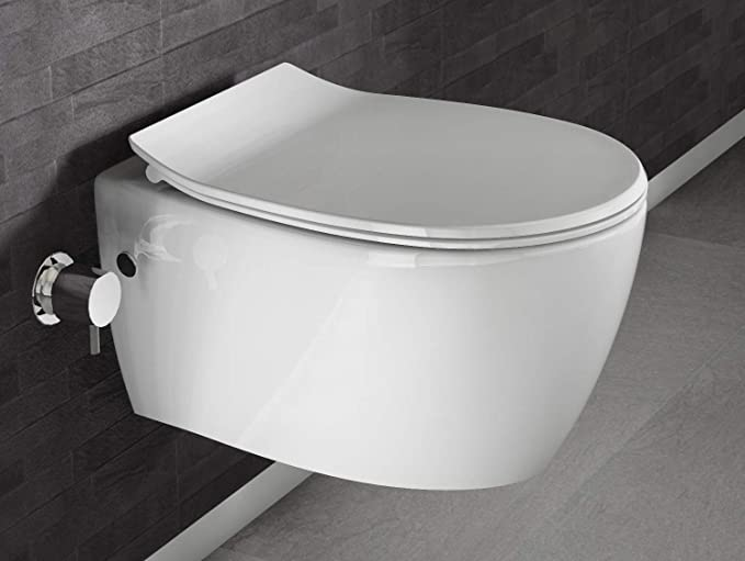 manuelle Bedienung mit integrierter Bidet//Taharet-Funktion modernes Design H/änge-Dusch-WC ohne Rand sp/ülrandlos 510x363 mm ultra falcher Softclose WC-Sitz Aqua Bagno