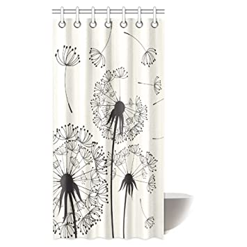 InterestPrint Dandelions Shower Curtain Flying In The Wind Dandelion Thistle Coral Black White Print Top
