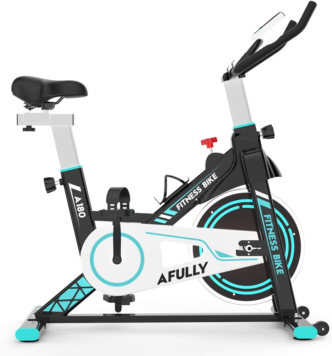 Afully Indoor Exercise Bike, Indoor Cycling Stationary Bike Belt Drive with Adjustable Resistance, LCD Monitor, Pad Phone Holder, Comfortable Cushion Stable and Quiet for Home Cardio Workout
