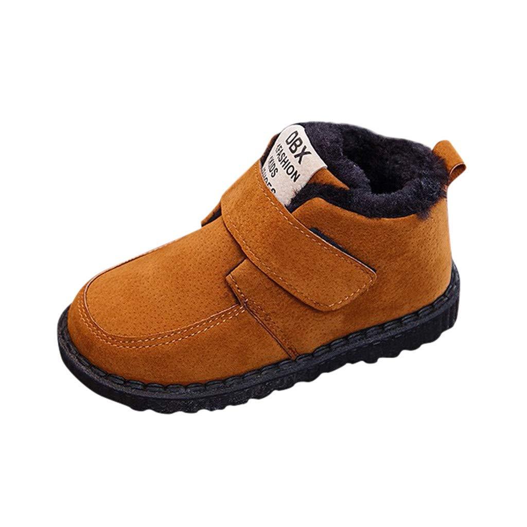 LILIGOD Kinder Mädchen Jungen Plus Samt Booties Winter Warme Schuhe Klettverschluss Stiefeletten Freizeitschuhe Baumwolle Winterstiefel Schneeschuhe Casual Kurze Stiefel