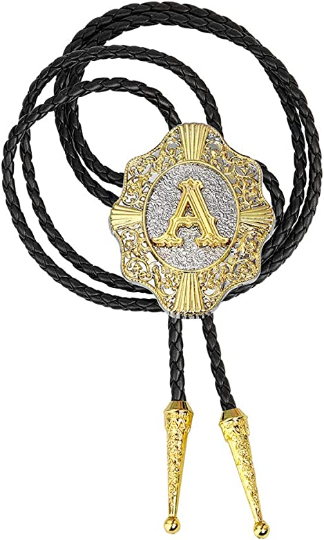 Golden Initial Letter ABCDMRJ to Z Western Cowboy Bolo Ties for Women Bolo tie for Men