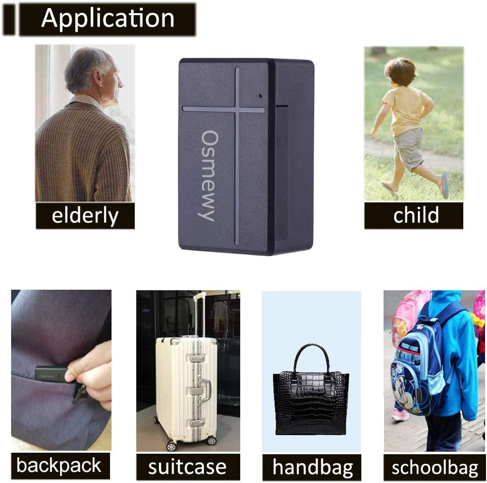 Osmewy Mini Personal /& Car GPS Tracker for Vehicle Car Kids Child Elderly Real Time Car GPS Locator Strong Magnet Tracking Anti-Theft Vibration Alarm Remote Control No Monthly Fee 1000mah GT035A