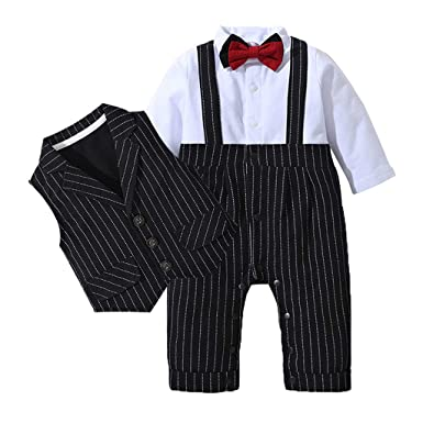 d2f959397 Amazon.com  Toddler Baby Boy Bowtie Gentleman Clothes Set Outfit ...