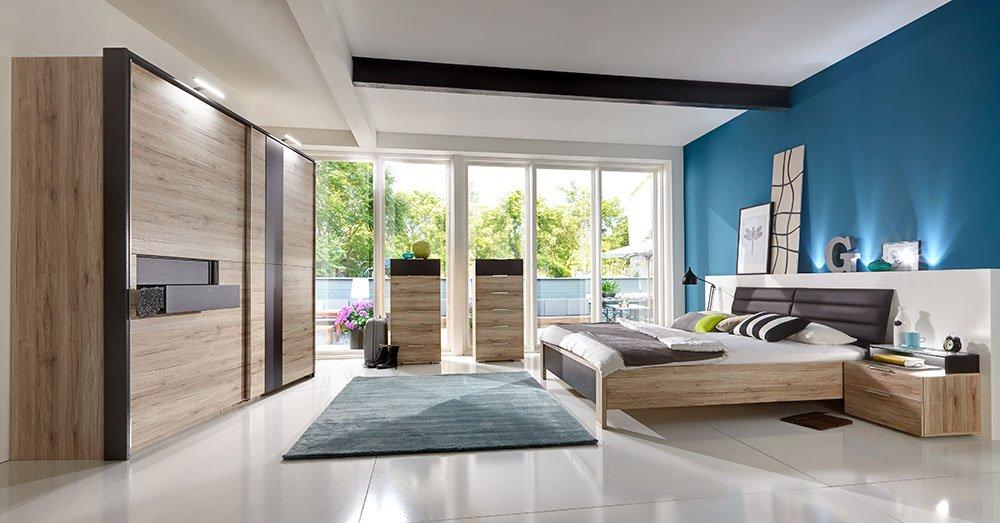 4-tlg. Schlafzimmer San Remo-Eiche-NB mit lavafarbigen Abs., 2-trg. Schwebetürenschrank, B: 250 cm, Futonbett 180 x 200 cm, 2 Nachtschränke, B: 58 cm