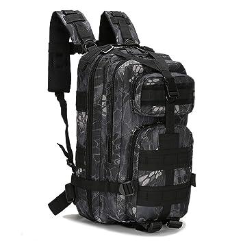 ECHI 3P mochila táctica, militar repelente de agua senderismo mochilas de camping para el senderismo al aire libre trekking camping caza (Gris oscuro): ...