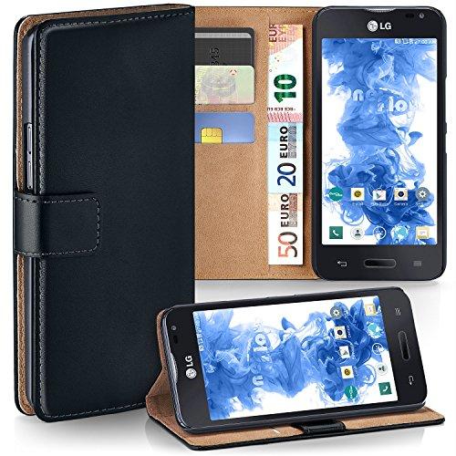 OneFlow Tasche für LG L90 Hülle Cover mit Kartenfächern | Flip Case Etui Handyhülle zum Aufklappen | Handytasche Schutzhülle Zubehör Handy Schutz Bumper in Schwarz