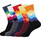 DRASEX Men's Dress Socks Colorful Pattern Combed Cotton Casual Funky Crew Socks