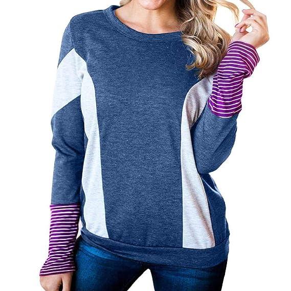 Luckycat Las Mujeres del otoño de Moda a Rayas Patchwork Manga Larga Blusa Tops Ropa Camiseta