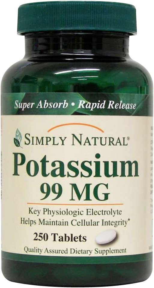 Simply Natural Potassium 99 MG, 250 Tablets