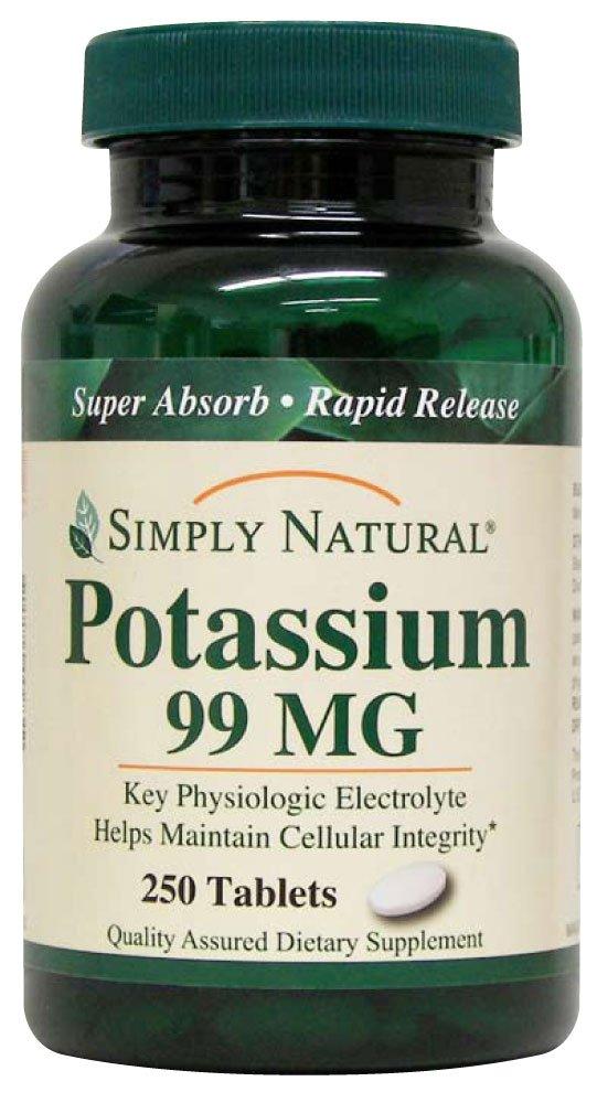 Simply Natural Potassium 99 MG, 250 tablets