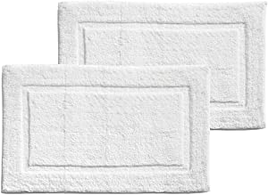 mDesign Soft 100% Cotton Hotel-Style Rectangular Spa Mat Rug, Plush Water Absorbent, Decorative Border - for Bathroom Vanity, Bathtub/Shower - Machine Washable - 2 Pack - White