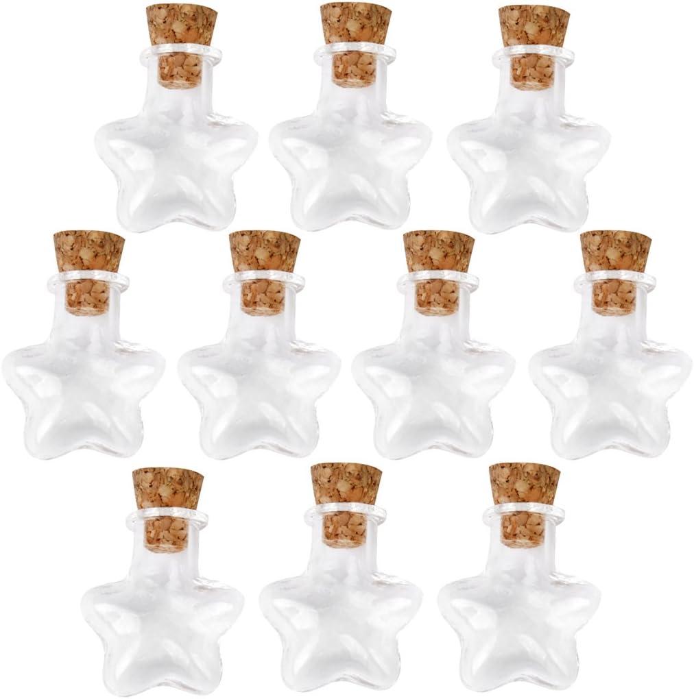 Forma De Estrella De Pequeñas Botellas De Vidrio Mensaje Corcho Claros Deseos Vacía Viales 10pcs