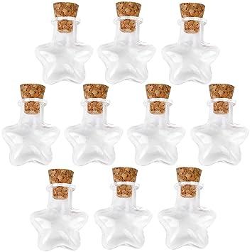 Forma De Estrella De Pequeñas Botellas De Vidrio Mensaje Corcho Claros Deseos Vacía Viales 10pcs: Amazon.es: Hogar