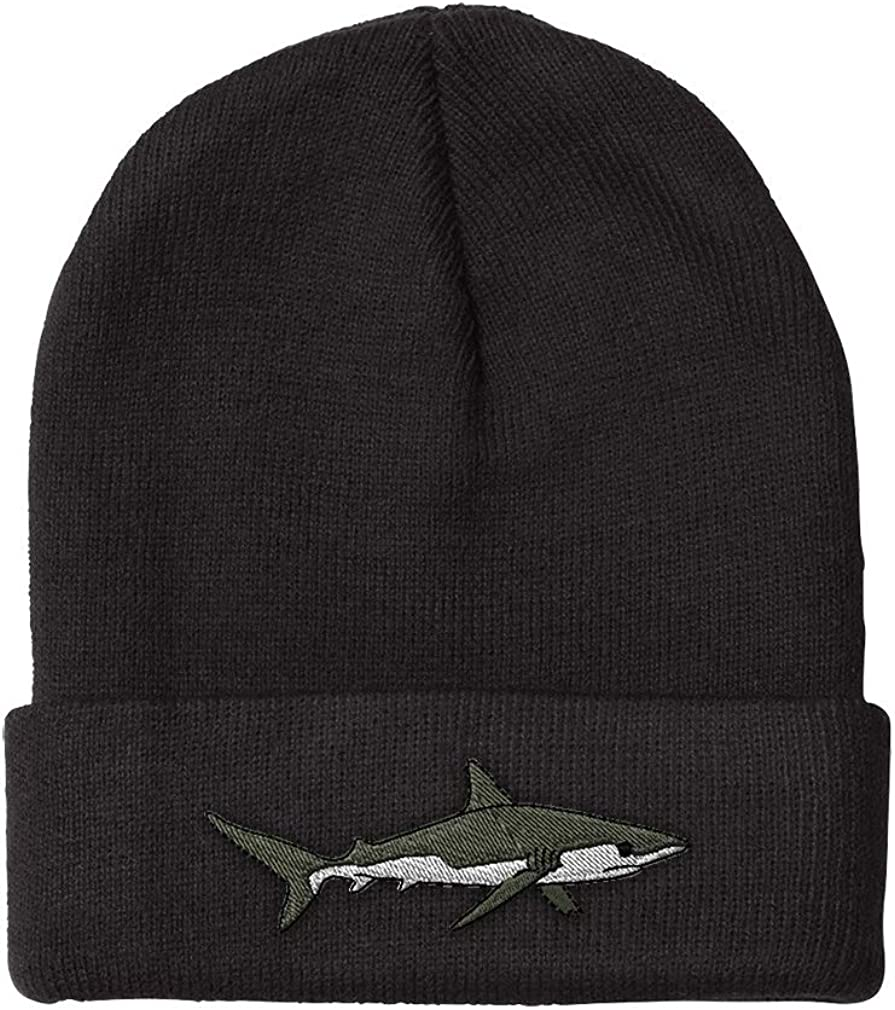Custom Beanie for Men & Women Shark Embroidery Acrylic Skull Cap Hat