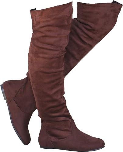 Damen Wildleder Overknee Kniehohe Winterstiefel Stretchstiefel Flach Schuhe Boot