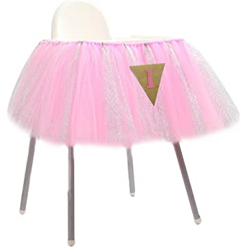 Tulle Table Skirt, Adeeing Tutu Table Skirting Cover for Party, Baby Shower, Wedding, Birthday, Home Decoration - 1Yard (Triangle high chair)