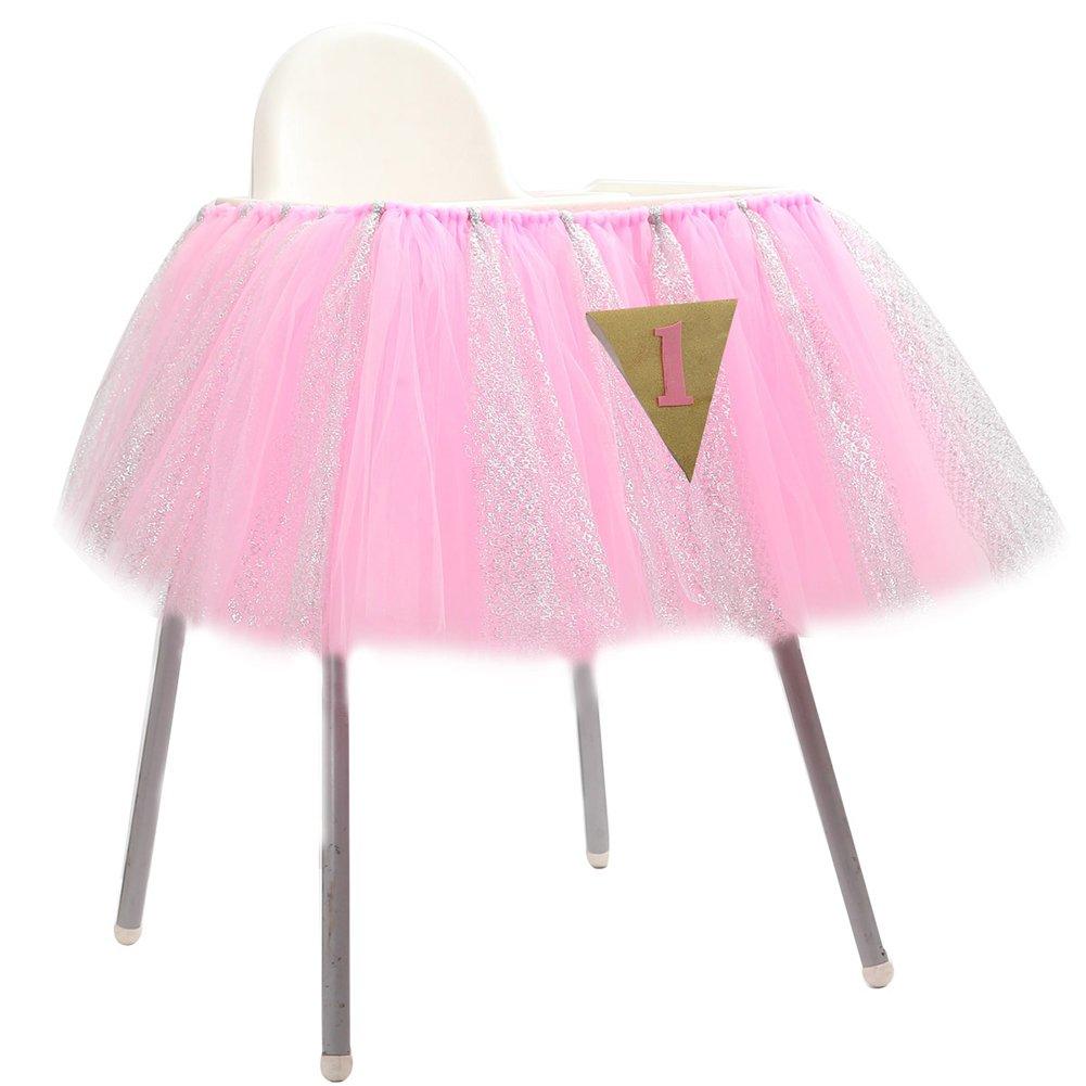 Lanlan 91, 4 x 35, 6 cm 1. Geburtstag Hochstuhl Tü ll Tisch Rock mit 1 Triangle Flagge ideal fü r Baby Geburtstag Party Dekoration