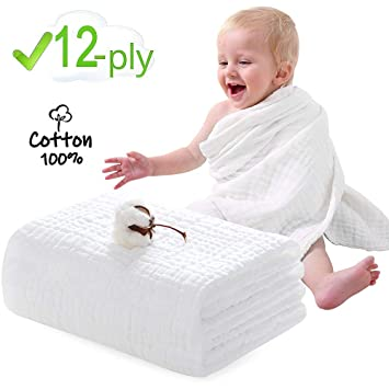 Muslin Baby Towels FUNCUBE 12 Layer Super Soft Fluffy Breathable Baby Bath Towel Rapid Water
