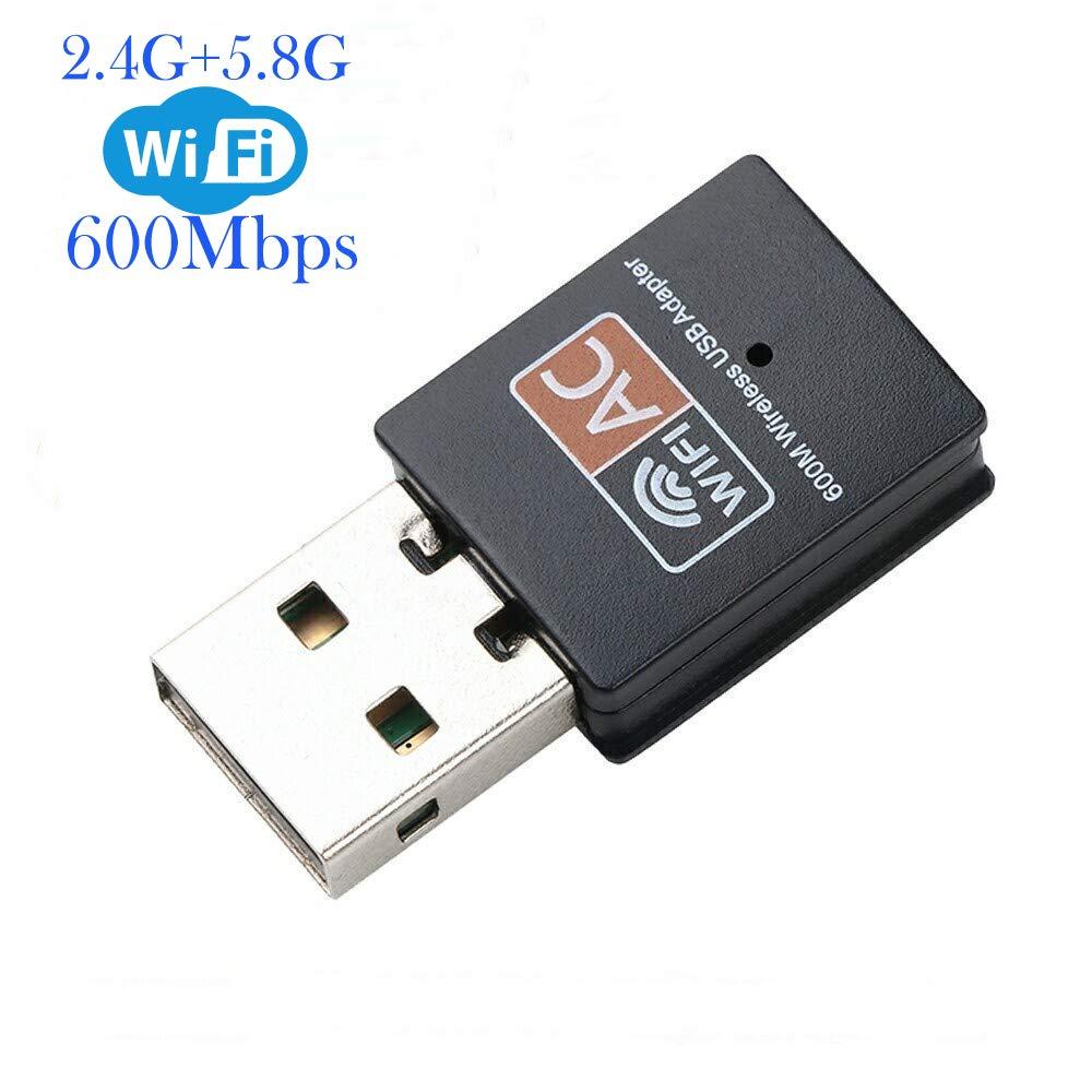 XVZ USB WiFi Adapter, 600mbps Dual Band 2.4G/ 5G Wireless Adapter, Mini Wireless Network Card WiFi Dongle for Laptop/Desktop/PC, Support Windows10/8/8.1/7/Vista/XP/2000, Mac OS X 10.6-10.13