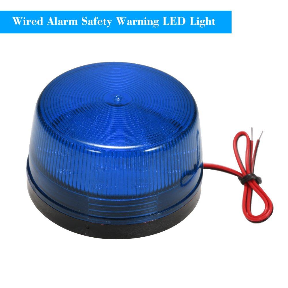 Azul con Cable de Alarma Strobe Se/ñal de Advertencia de Seguridad LED luz Intermitente Impermeable 12V 120mA de Seguridad con Seguridad para Sistema de Alarma