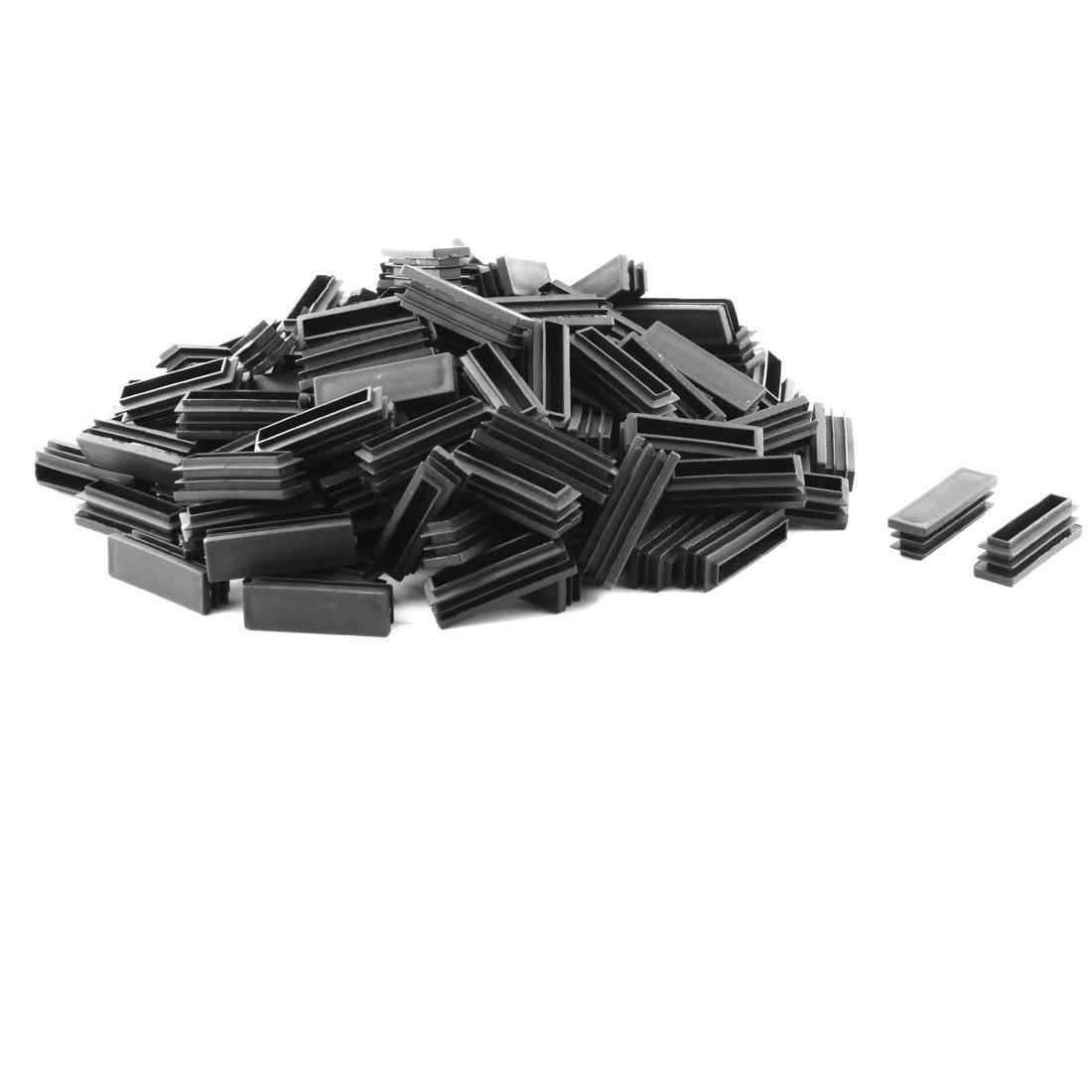 uxcell Plastic Home Office Rectangle Shape Table Chair Leg Tube Insert 15 x 50mm 150 Pcs Black