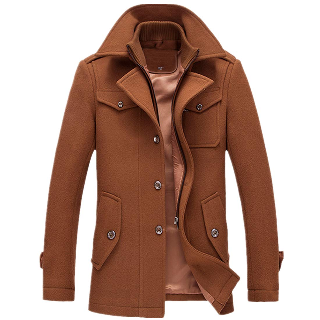 T&D Men's Winter Thicken Warm Stand Collar Wool Coat Single Breasted Pea Coat T&D WELL LTD.