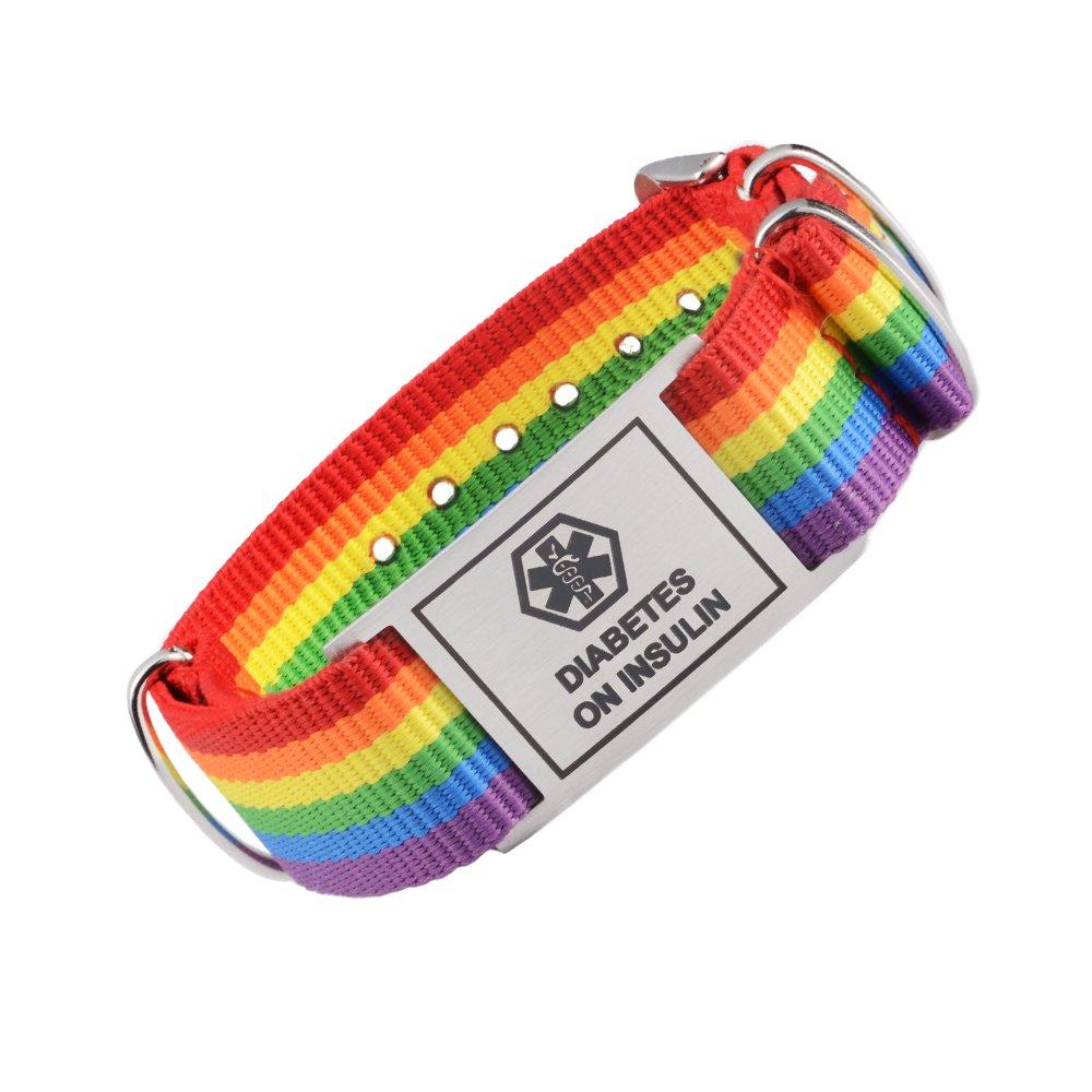 Tarring Sports Rainbow Canvas band Medical id bracelets for Girls & Boys 38-386I-OKI5