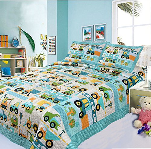 Brandream Boys Cars Trucks Vehicles Quilt Set Kids Comforter Set