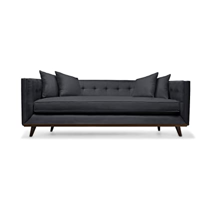 South Cone Home COLTUFSOF108/Charc Colin Tufted Linen Sofa, 108u0026quot;,  Charcoal