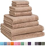 Home and Plan Turkish Cotton Bath Towel Set - Pack of 8 with 2 Bath Sheets (30x60) - Beige