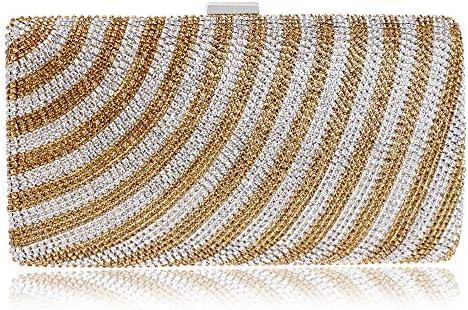 バッグ - ラインストーン/ポリエステル/北欧スタイルトラベルトート、ショルダーバッグ/ショルダーバッグ/メタリックハンドバッグ、ハード/ウェアラブル(22x4.5x11.5cm) よくできた (Color : Gold)