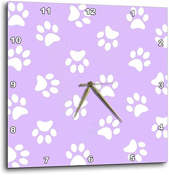 3dRose Lilac Purple and White Paw Print Pattern-Girly Pawprints Cute Cartoon Animal Dog or cat Footprints-Wall Clock