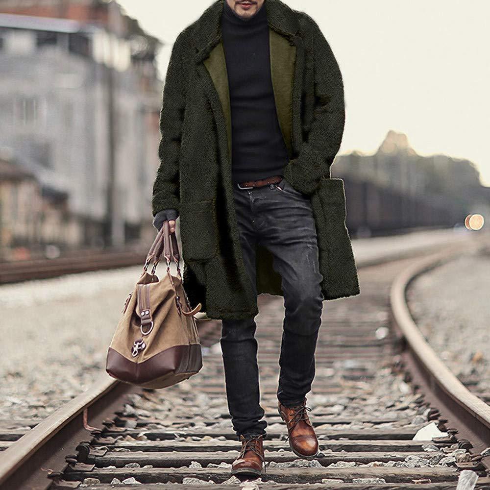 FTXJ Fashion Men Loose Warm Plush Cardigan Long Furry Double-Sided Coat Tops Blouses by FTXJ_mens coats (Image #5)