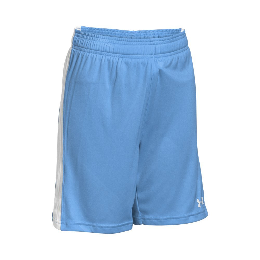 Under Armour Boys' Re-Fixture Soccer Shorts, Carolina Blue /White, Youth X-Large by Under Armour