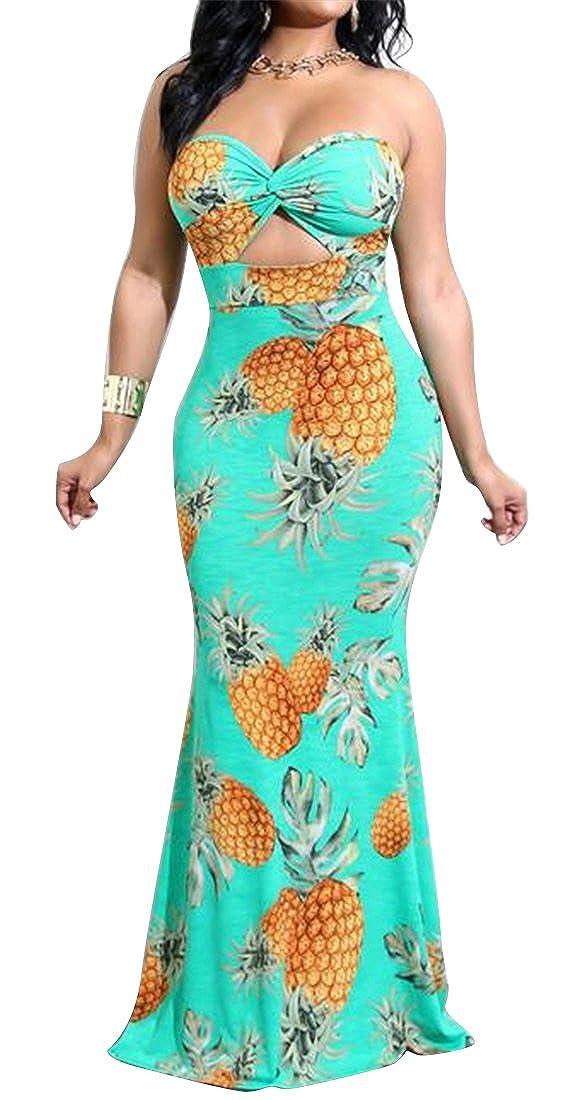 WAWAYAWomen Strapless Sundress Pineapple Print Bodycon Beach Evening Party Maxi Dress