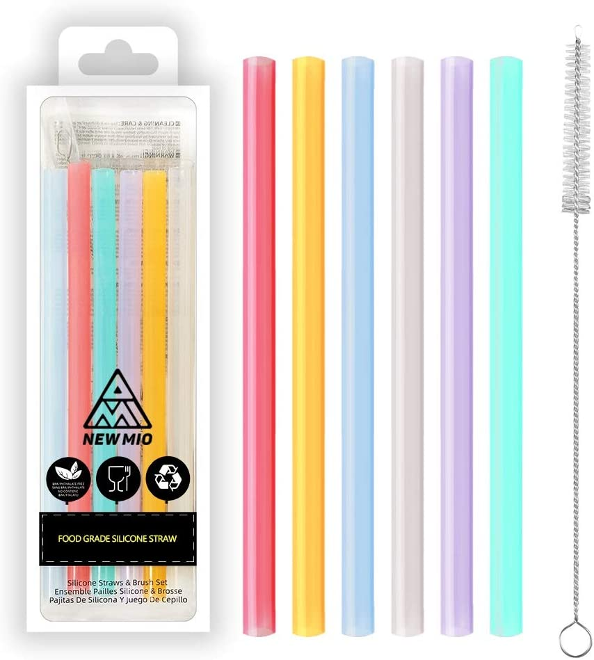 Drinking Straws - Kids Reusable Silicone Straws for take and Toss Cups with Cleaning Brush100% food grade Silicone,safe for kids (Pack of 6)