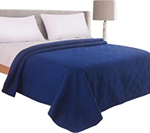 LITHER bedspreads Queen Size Oversized Quilt Coverlet Checkered Solid Color (Navy Sweepstakes