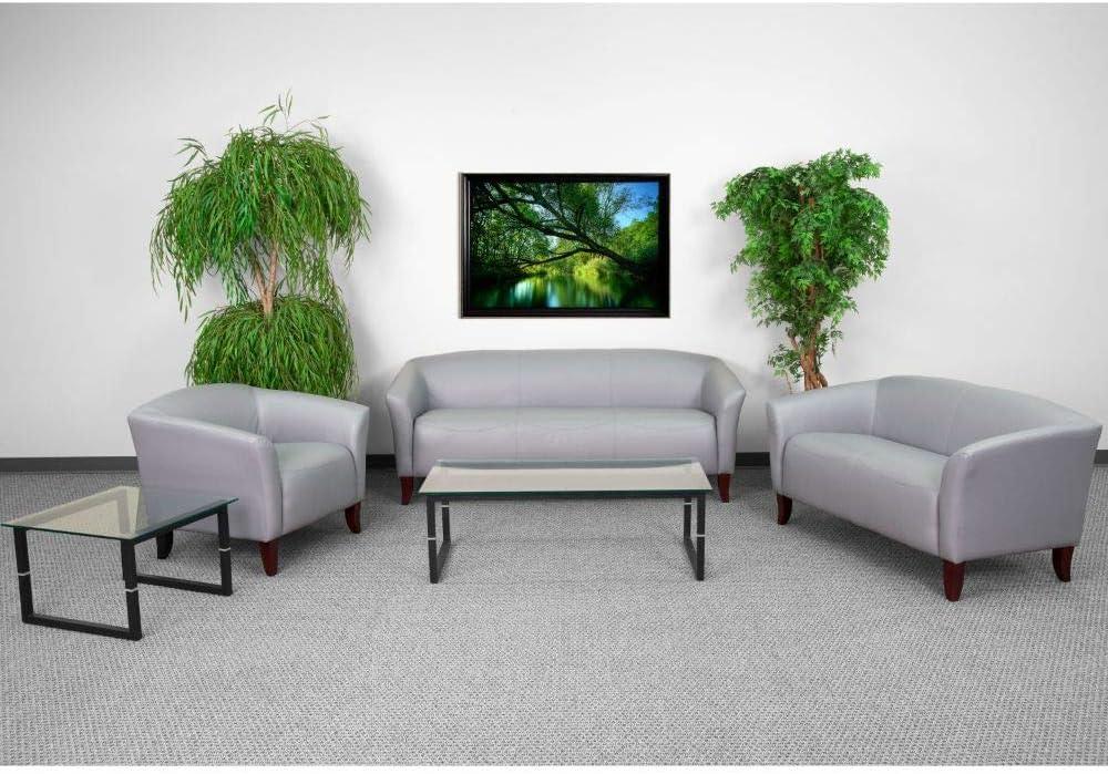 Amazon Com Flash Furniture Hercules Imperial Series Reception Set In Gray Leathersoft Furniture Decor