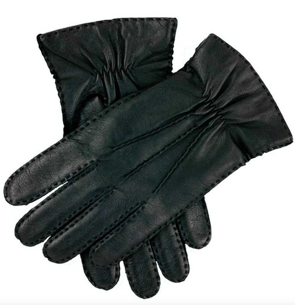 Dents Men's Kangaroo Leather Gloves Cashmere Wool Lined Winter (with Gift Box) (Small, Black)