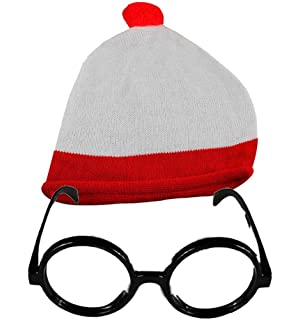 Kids Red /& White Stripe T-Shirt and Hat Glasses Set Children Book Day Week Top