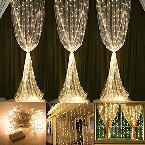 ProGreen LED Curtain String Lights, 300 LEDs Curtain Icicle Lights String  Fairy Lights With 8