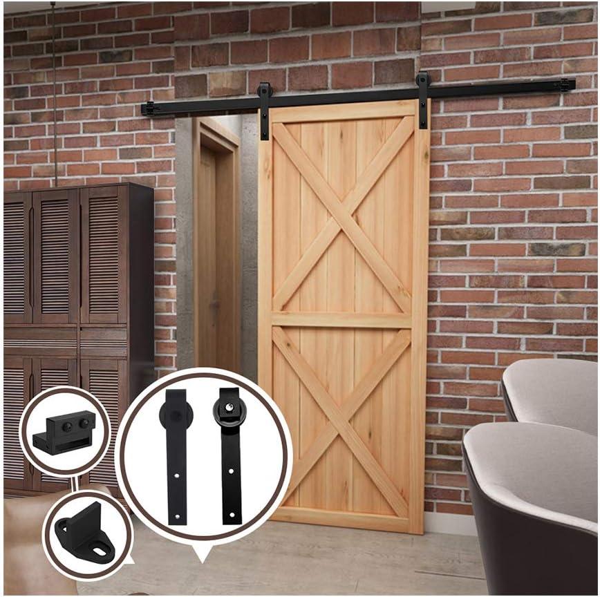 6FT/183 cm Herraje para Puerta Corredera Kit de Accesorios para Puertas Correderas,Negro J-Forma