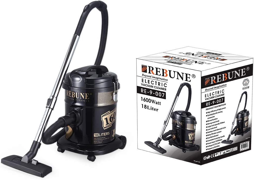 Canister Vacuum Cleaners By Rebune,1600W,18L, Black