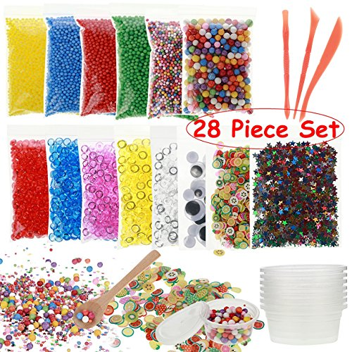 Colorful Styrofoam Balls for Slime-28 piece set by Z Creative Solutions. Foam balls of all sizes and colors for slime making, fish tank glass beads, fruit slices and slime tools kit for flaom DIY (Glass Fish Ball)