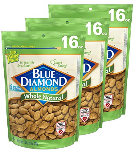 Raw Almonds (Blue Diamond Almonds, Whole Natural, 16 Ounce (Pack of 3))