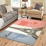 Gogogosky Home Decorate Floor Custom Rectangle Eiffel Tower On A Flag Of France Area Rug Floor Rug Room Carpets 7'x5'