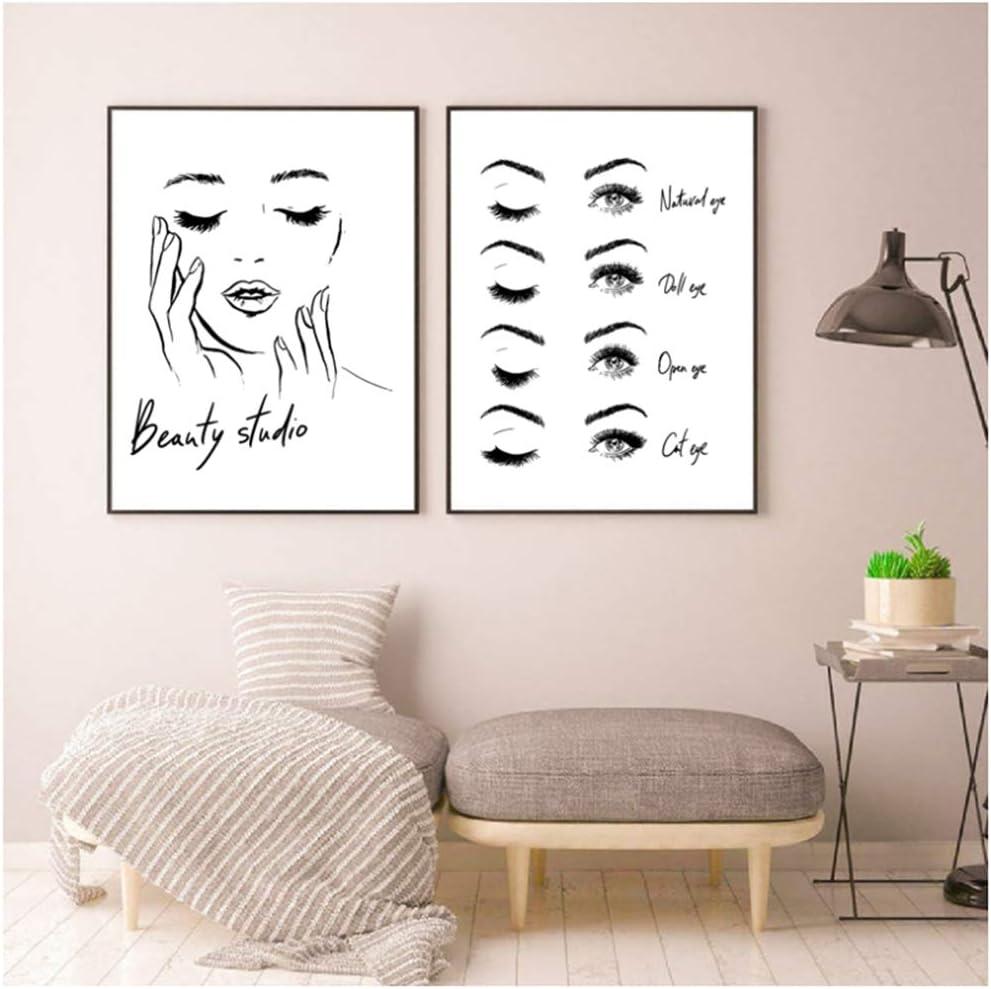 Cartel de cara de mujer Pestañas hermosas Impresiones Estudio de belleza Decoración de arte de pared Pintura de lienzo Cuadro Maquillaje Decoración de pared 15.7