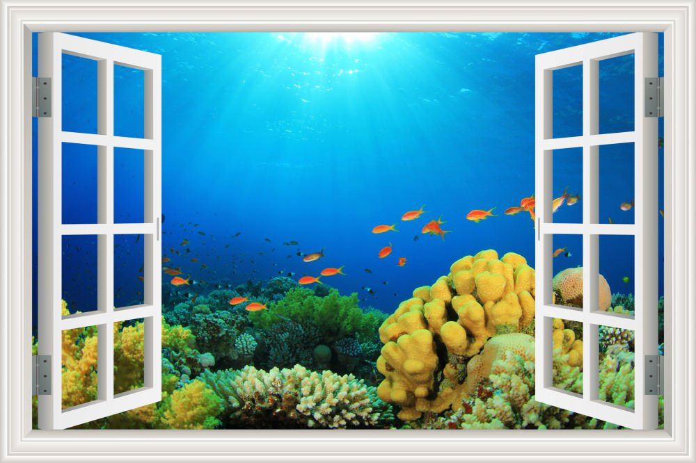 GreatHomeArt Removable Wall Murals Nursery Peel and Stick Fish Sticker 3D Seaworld Wall Decor Decals for Kids Room Window View Poster Art- 24''x36''